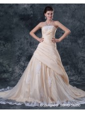 Sleeveless Natural Chapel Lace / Ruffles / Beading Ivory A-line Zipper Strapless / Bateau Taffeta Wedding Dress