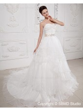 Taffeta / Organza Ivory Ruffles / Beading / Cascading-Ruffles / Sash Sleeveless Zipper A-line Natural Court Sweetheart Wedding Dress