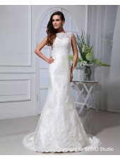Empire Zipper Lace / Applique / Beading Sleeveless Ivory Chapel A-line Satin / Lace Jewel Wedding Dress