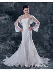 Sleeve Sweetheart Long Ivory Natural Satin A-line Chapel Beading / Applique Zipper Wedding Dress