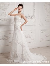 Sleeveless Zipper A-line Strapless / Bateau Sweep Ivory Satin / Lace Empire Ruffles / Beading / Sash / Bow Wedding Dress