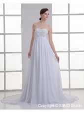 Sweetheart A-line Court Sleeveless Zipper Chiffon Ivory Beading Empire Wedding Dress