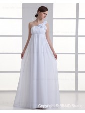 Ivory Zipper Chiffon One Shoulder Floor-length Empire Sleeveless Ruffles / Hand Made Flower A-line Wedding Dress