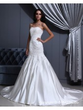 Lace Up A-line Satin Sleeveless Strapless / Sweetheart Court Ivory Embroidery Empire Wedding Dress