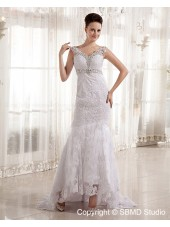 V Neck Ivory Lace / Beading Empire Satin / Lace Zipper Sleeveless Court Column / Sheath Wedding Dress