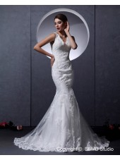 Satin / Lace Zipper Lace / Ruffles / Beading Sleeveless Court Ivory A-line Empire Straps Wedding Dress