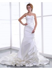 Sweetheart Ruffles / Beading / Appliques Sleeveless A-line Court Natural Lace Up Satin Ivory Wedding Dress