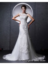 A-line Ivory Beading / Applique / Lace Natural Zipper Satin / Tulle High Neck Chapel Sleeveless Wedding Dress