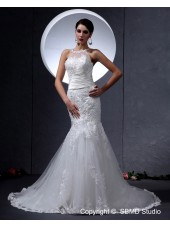 A-line High Neck Chapel Lace Zipper Sleeveless Ivory Organza / Satin Empire Wedding Dress