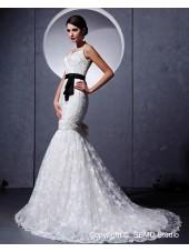 Empire Sash / Lace Sleeveless Ivory Satin / Lace Court Spaghetti Straps Zipper A-line Wedding Dress