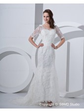 Embroidery Zipper V Neck Natural Satin / Lace Ivory Court Sleeve Short A-line Wedding Dress