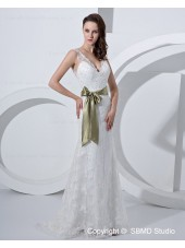 Applique / Beading / sash Zipper Satin / Tulle A-line Sweetheart Sleeveless Floor-length Ivory Empire Wedding Dress