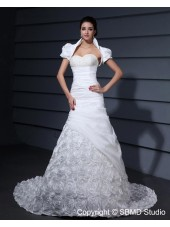 Ivory Natural Beading / Hand Made Flower A-line Sleeveless Taffeta Zipper Sweetheart Chapel Wedding Dress