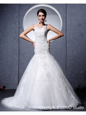 Sleeveless Applique / Beading Scoop Satin / Lace / Tulle Zipper Ivory Chapel Empire A-line Wedding Dress