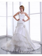 Sweetheart Lace Up Sleeveless Cathedral Satin / Lace Natural Applique / Ruffles / Hand Made Flowers Ivory A-line Wedding Dress