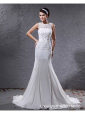 Jewel Empire A-line Applique / Beading / Sash Chiffon Ivory Sleeveless Court Zipper Wedding Dress