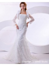 Empire Long Ivory Satin / Lace Strapless Beading / Embroidery Court Sleeve Zipper A-line Wedding Dress