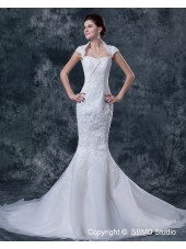 Satin Natural Applique / Beading A-line Sweetheart Ivory Sleeveless Zipper Cathedral Wedding Dress