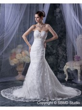 Ivory Natural Lace Up Cathedral Ruffles / Applique / Beading A-line Satin / Lace Sleeveless Sweetheart Wedding Dress