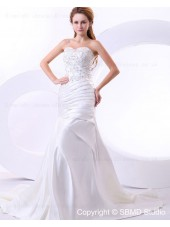 Ivory Ruffles / Beading / Embroidery Lace Up Natural Court Satin A-line Sweetheart Sleeveless Wedding Dress