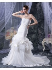 Sleeveless Empire Beading / Ruffles / Cascading-Ruffles Strapless Cathedral A-line Organza / Satin Ivory Zipper Wedding Dress
