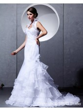 Ivory Court Sleeveless Cascading-Ruffles Halter Natural Taffeta / Satin Zipper A-line Wedding Dress