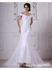 Ivory Zipper Empire A-line Off-the-shoulder Beading / Lace Court Sleeveless Organza / Satin Wedding Dress