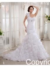 Empire A-line Zipper Ivory Sleeveless Court One Shoulder Beading / Cascading-Ruffles Organza Wedding Dress