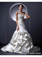 A-line Natural Satin Applique / Ruffles / Beading / Embroidery Court One Shoulder Lace Up Sleeveless Ivory Wedding Dress