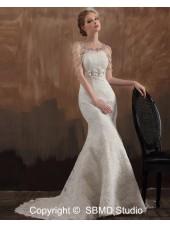 Sleeveless Zipper Beading / Hand Made Flower / Appliques / Lace Empire Sweetheart Ivory A-line Court Satin Wedding Dress