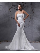 Zipper Ivory Applique / Beading / Sash Sweetheart Court Empire Satin / Organza  A-line Sleeveless Wedding Dress