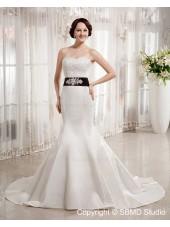 Zipper Floor-length Beading / Sash / Applique Empire A-line Ivory Satin Sweetheart Sleeveless Wedding Dress