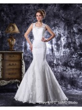 Court Natural Ivory Lace / Satin Sweetheart Sleeveless Beading / Embroidery Mermaid Zipper Wedding Dress