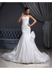 Taffeta Mermaid Ivory Dropped Zipper Pleat / Applique Sleeveless Cathedral Sweetheart Wedding Dress