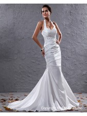 Taffeta Court Ivory Sleeveless Pleat / Beading Halter Lace Up Mermaid Empire Wedding Dress