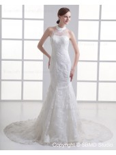 Lace Up Applique / Beading Mermaid Dropped Ivory Sleeveless Court Tulle / Satin Jewel Wedding Dress