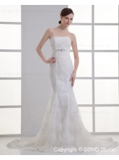 Hand Made Flower / Beading Tulle Sleeveless Mermaid Empire Beteau Ivory Zipper Court Wedding Dress