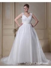 Ivory Court Empire Size V Neck Lace Up Sleeveless Organza Applique / Beading / sash A-line / Plus Wedding Dress