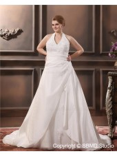 Satin Size A-line / Plus Sleeveless Applique Zipper Empire Ivory Halter Court Wedding Dress