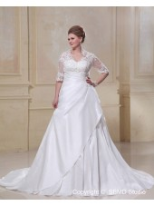 Size Court Taffeta / Lace Empire Lace Up Applique / Beading Ivory A-line / Plus Sleeve V Neck Long Wedding Dress