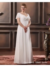 Zipper Satin / Chiffon Ruffles Sweep V Neck Column / Sheath / Plus Ivory Short Sleeve Size Empire Wedding Dress