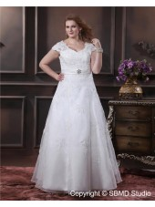 Organza Floor-length Size V Neck Cap Sleeve Empire A-line / Plus Zipper Ivory Beading / Applique / Sash Wedding Dress