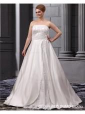 Bateau A-line / Plus Lace Up Sleeveless Sweep Natural Ivory Satin / Lace Size Embroidery / Beading Wedding Dress