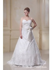 Floor-length A-line / Plus Bowknot / Applique / Sash Zipper Ivory Size Satin / Lace Empire Sleeveless Sweetheart Wedding Dress
