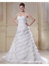 Sleeveless Ivory Size Sweep Dropped Ruffles Chiffon A-line / Plus Sweetheart Lace Up Wedding Dress
