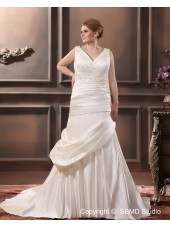 Satin A-line / Plus Ivory V Neck Lace Up Sleeveless Size Beading / Applique / Ruffles Chapel Dropped Wedding Dress