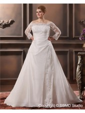 Taffeta Champagne A-line / Plus Cathedral Size Empire Zipper Applique / Ruffles / Lace Off-the-shoulder Long Sleeve Wedding Dress