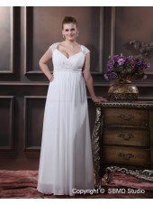 White Chiffon Empire Cap Sleeve Zipper Applique / Ruffles / Sash Size Column / Sheath / Plus Floor-length V Neck Wedding Dress