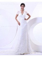 Zipper V Neck Dropped Short Lace Court Sleeve A-line Beading / Sash / Lace Ivory Wedding Dress