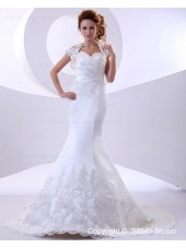 Mermaid Cathedral Sweetheart Dropped Ivory Applique / Lace / Ruffles Satin / Lace Sleeveless Zipper Wedding Dress
